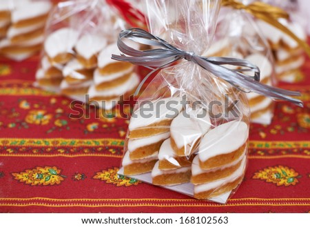 Traditional and expensive Provence sweets made of almonds - Calissons d'Aix - stock photo