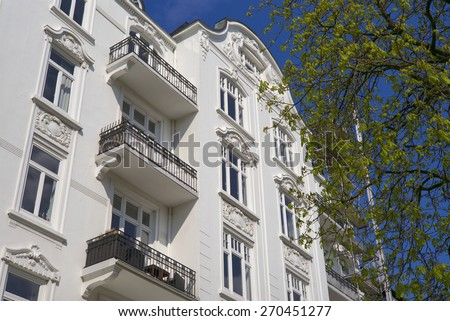 Traditional apartment buildings in Hamburg, Germany - stock photo