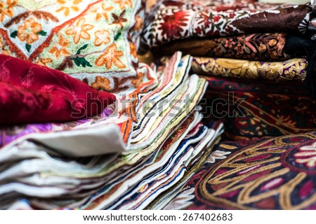 traditional Arab rugs in the market - stock photo