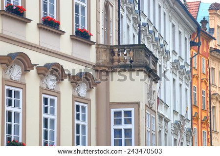 Traditional architecture of beautiful buildings inside Prague Old Town, Czech Republic - stock photo
