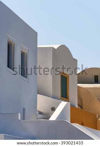 Traditional architecture of Oia on the greek island of Santorini. - stock photo