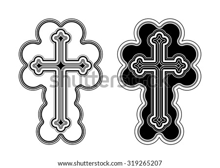 Traditional Armenian Apostolic Church cross clip art. - stock photo