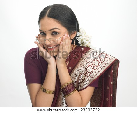 Traditional asian girl with specs - stock photo