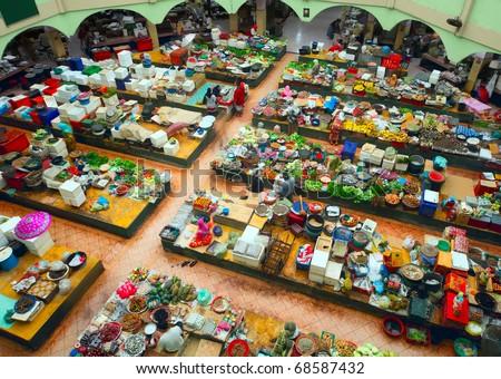 Traditional asian market. Malaysia, Kota Bharu, Pasar siti khadijah. - stock photo