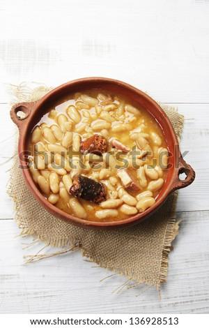 "traditional asturian stew (bean stew) called ""fabada"" - stock photo"