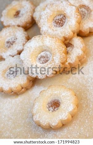 Traditional austrian recipe Linzer Cookies - stock photo