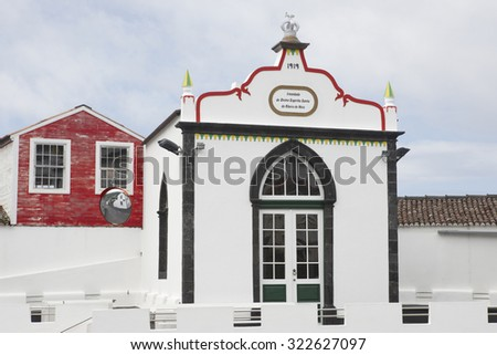 Traditional azores chapel imperio in Pico island. Azores, Portugal. Horizontal - stock photo