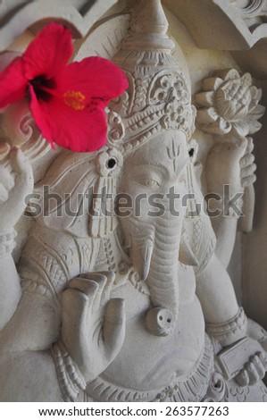 Traditional Balinese Ganesha sculpture in Ubud - stock photo