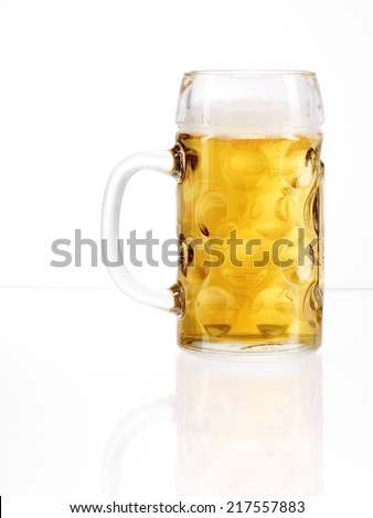 traditional Bavarian beer glass called Mass. - stock photo