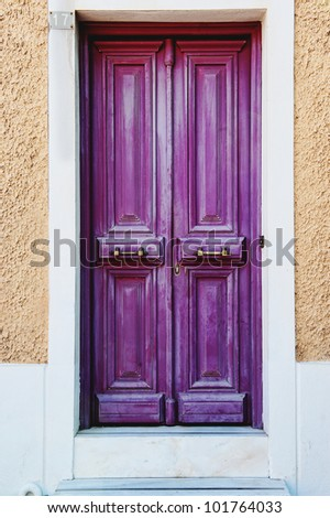 traditional beautiful and colorful door - stock photo