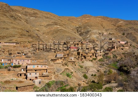 Traditional berber village in Atlas Mountain, Morocco, Africa - stock photo