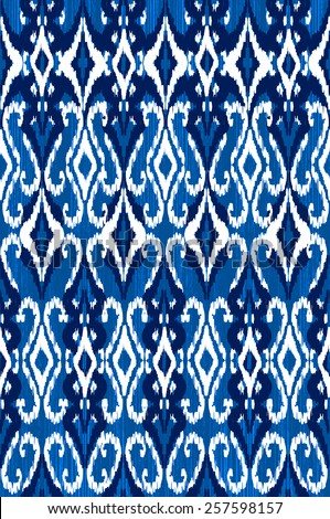 traditional blue ikat ~ seamless background - stock photo