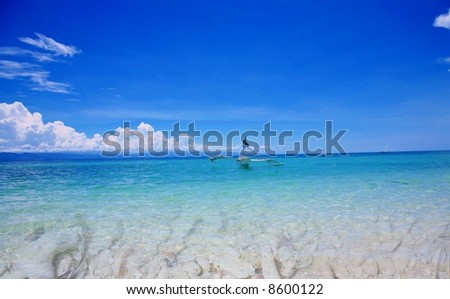Traditional  boat on the pacific ocean - stock photo
