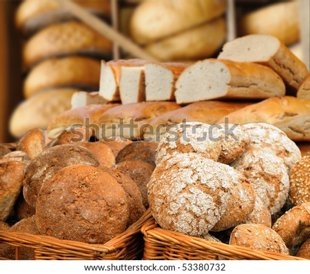 Traditional bread in baskets - stock photo
