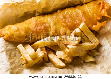 Traditional British fish-and-chips - stock photo
