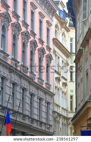 Traditional buildings on narrow street from the Old Town of Prague, Czech Republic - stock photo