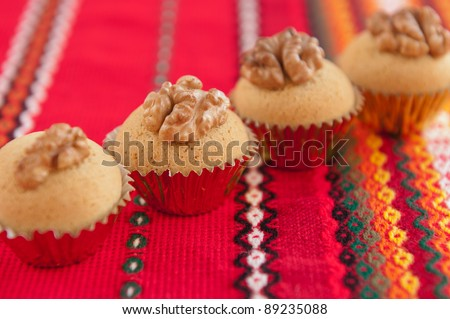 Traditional bulgarian christmas cookies called Medenki. The name medenki comes from honey due to its honey taste. Traditionally served on Christmas. - stock photo