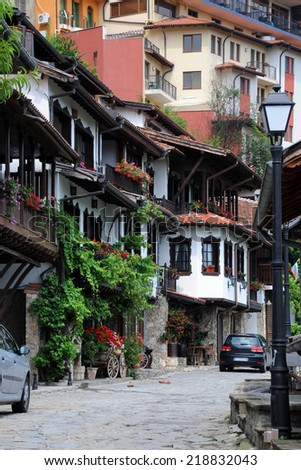 Traditional Bulgarian houses in General Gurko Street in the city of Veliko Tarnovo in Bulgaria - stock photo