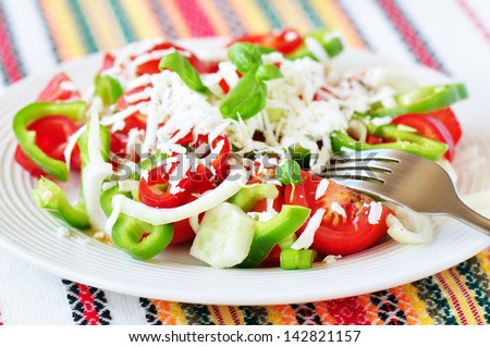 Traditional Bulgarian salad  - shopska salad - stock photo