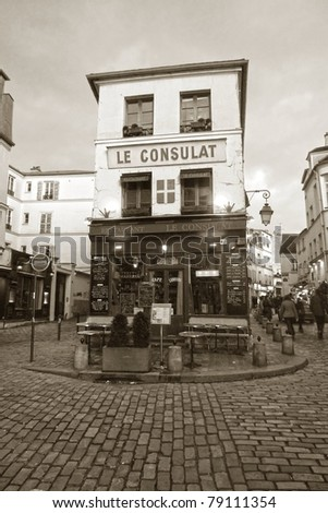 Traditional café in Paris, France - stock photo