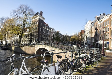 Traditional Canal houses in Amsterdam, Netherlands - stock photo