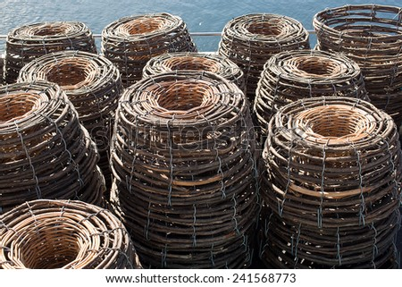 Traditional cane craypots sitting on the deck of a cray fishing boat - stock photo