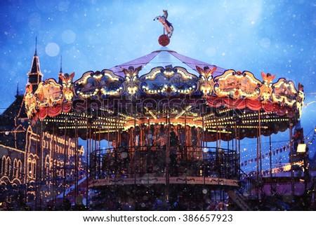 traditional carousel - stock photo