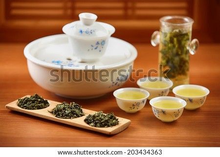 traditional chineese green tea ceremony  - stock photo