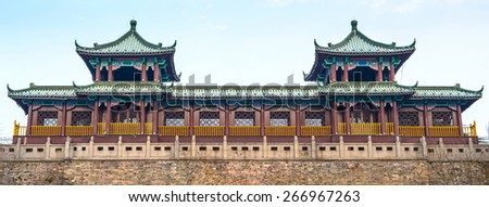 Traditional Chinese Architectural. Gate of Xuanwu Lake Park, Located in Nanjing City, Jiangsu Province, China. - stock photo