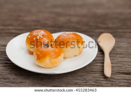 Traditional Chinese cake,  Egg yolk shortcake - stock photo