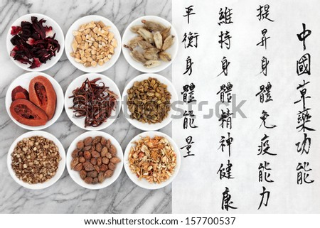 Traditional chinese herbal medicine with mandarin script calligraphy on rice paper over marble. Translation describes the functions to increase the bodys ability to maintain health and balance energy. - stock photo