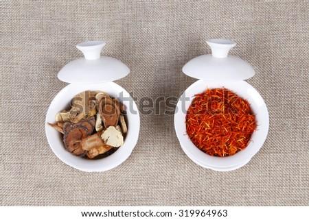 Traditional Chinese medicine (TCM), close-up - stock photo