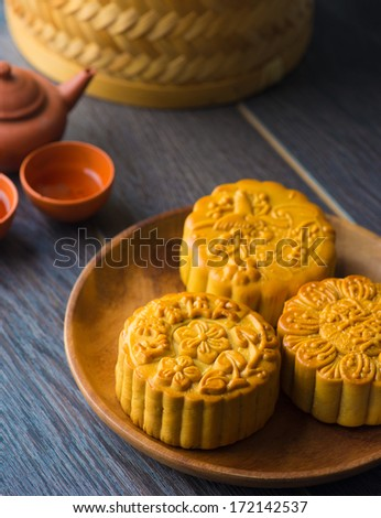 Traditional Chinese mid autumn festival food - stock photo