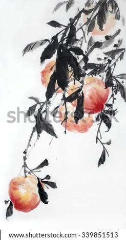 Traditional Chinese Painting. - stock photo