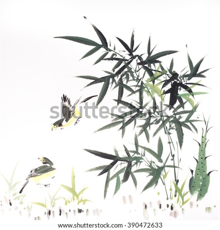 Traditional chinese painting Bamboo and birds - stock photo