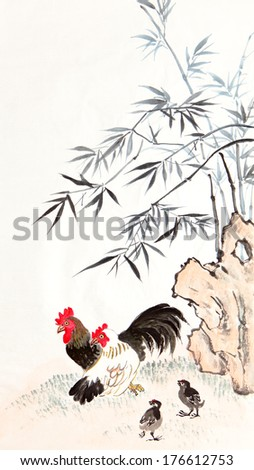 traditional Chinese painting ,bamboo and chicken - stock photo