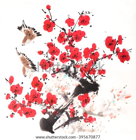 Traditional Chinese painting of flowers and two birds - stock photo