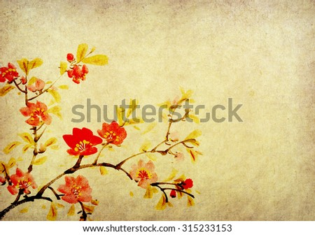 Traditional chinese painting Spring plum blossom on Old vintage paper background - stock photo