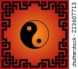 Traditional Chinese red and black yin yang background  - stock photo