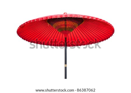 Traditional Chinese red oiled-paper umbrella isolated on white background.Other than the purpose of providing shade, oil-paper umbrellas are also essential wedding items in both traditional Chinese a - stock photo