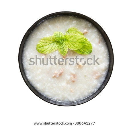 Traditional chinese  rice gruel isolated on white background - stock photo