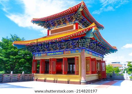 Traditional Chinese style temple at Wat Leng-Noei-Yi ,Thailand - stock photo