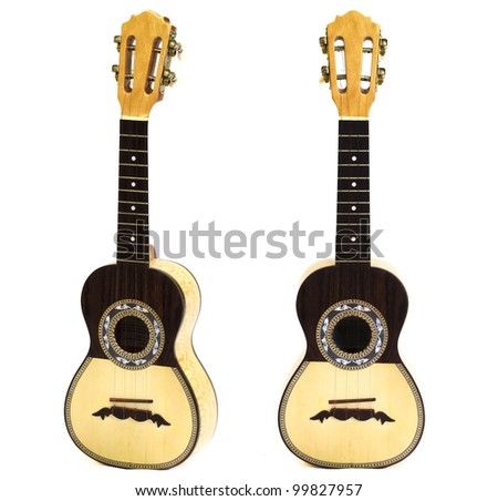 traditional chord instrument in white background - stock photo