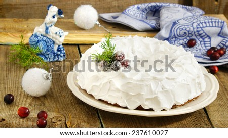 Traditional Christmas banana cake with a Goat -simbol of the New Year 2015 - stock photo