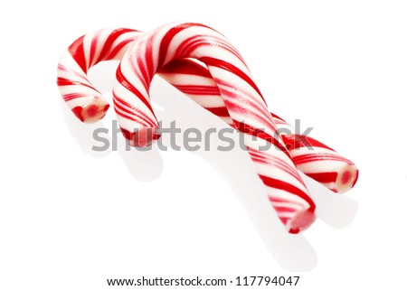 Traditional christmas candy isolated on white background - stock photo