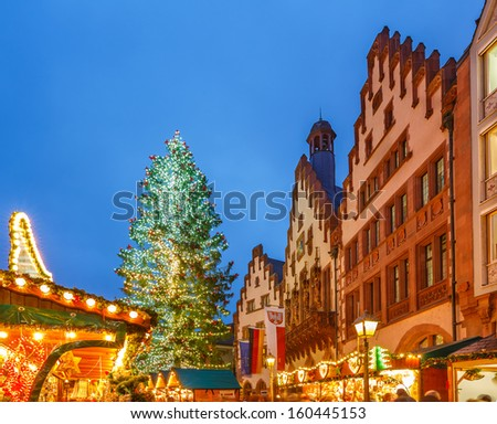 Traditional christmas market in the historic center of Frankfurt, Germany - stock photo