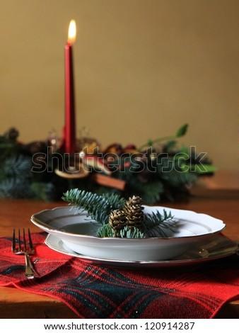 Traditional christmas table - stock photo