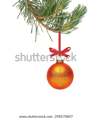 Traditional Christmas Tree Decoration hanging from a tree branch isolated on a white background. - stock photo