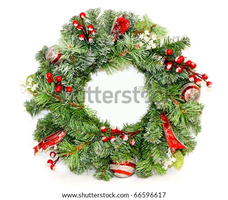 Traditional Christmas wreath for entrance door decoration - stock photo