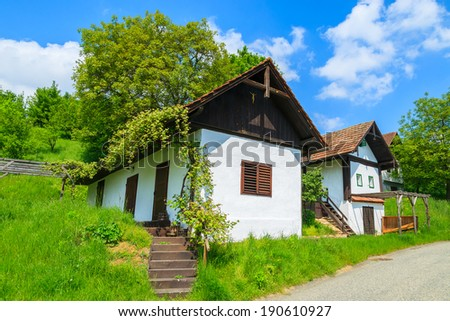 Traditional cottage houses in wine making region of Burgenland, southern Austria - stock photo